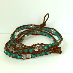 Jewelry - Green & Silver Wrap Leather Bracelet Necklace